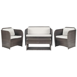 Safavieh Outdoor Living 'Caprina' Brown/ Grey 4-piece Patio Set