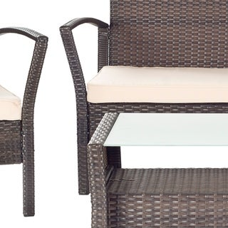 Safavieh Outdoor Living Avaron Brown/ Beige Cushion 4-piece Patio Set