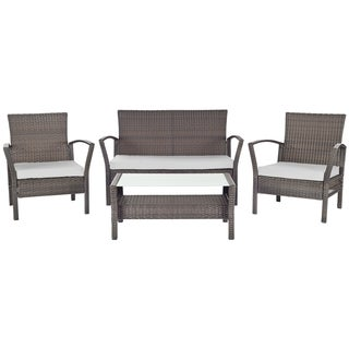 Safavieh Outdoor Living Avaron Brown/ Grey Cushion 4-piece Patio Set
