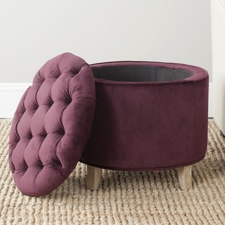 Safavieh Amelia Bordeaux Cotton Tufted Storage Ottoman