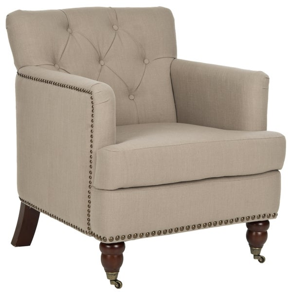 Safavieh Colin True Taupe Linen Blend Tufted Club Chair