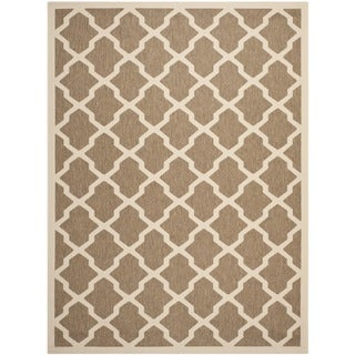 Safavieh Indoor/ Outdoor Courtyard Brown/ Bone Area Rug (9' x 12')