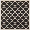Safavieh Indoor/ Outdoor Courtyard Contemporary Black/ Beige Rug (7'10'' Square)