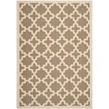 Safavieh Indoor/ Outdoor Courtyard Brown/ Bone Geometric Rug (4' x 5'7)