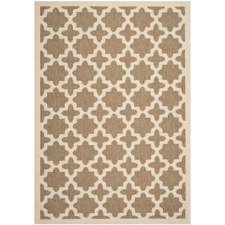 Safavieh Indoor/ Outdoor Courtyard Brown/ Bone Polyproplene Rug (6'7 x 9'6)