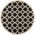 Safavieh Indoor/Outdoor Courtyard Black/Beige Power-loomed Rug (7'10 Round)