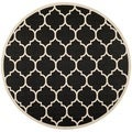 Safavieh Indoor/Outdoor Courtyard Black/Beige Contemporary Rug (7'10 Round)