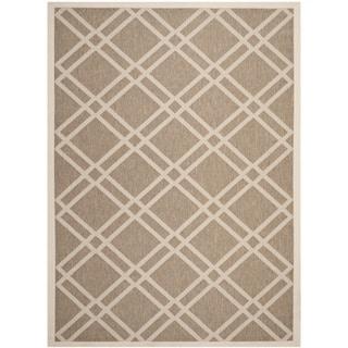 Safavieh Indoor/ Outdoor Courtyard Crisscross Pattern Brown/ Bone Rug (8' x 11')