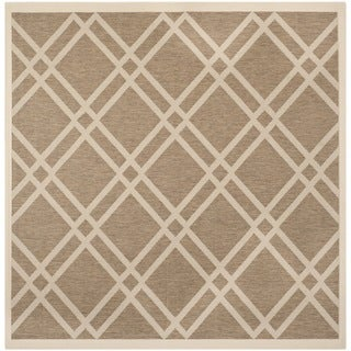Safavieh Courtyard Brown/ Bone Diamond Indoor/ Outdoor Rug (7'10 Square)