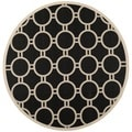 Safavieh Indoor/Outdoor Courtyard Black/Beige Polypropylene Rug (7'10 Round)
