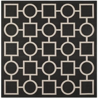 Safavieh Indoor/ Outdoor Courtyard Squares-and-circles Black/ Beige Rug (7'10'' Square)