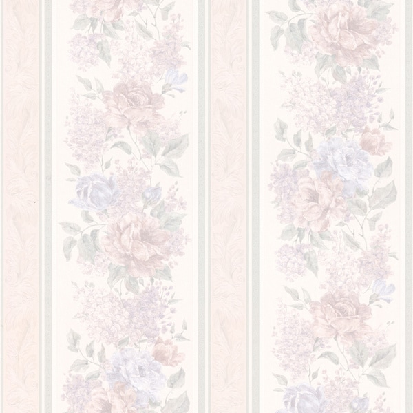 Brewster Lavender Floral Stripe Wallpaper