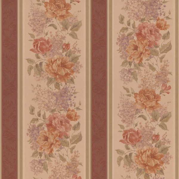Brewster Brown Floral Stripe Wallpaper