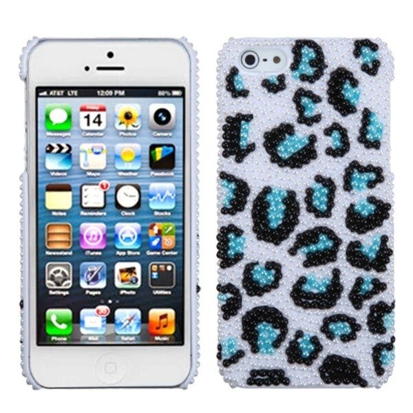 INSTEN Leopard/ Black/ Blue/ Pearl Diamante Phone Case Cover for Apple iPhone 5