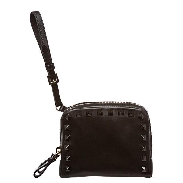 Valentino 'Rockstud' Black Leather Studded Wristlet
