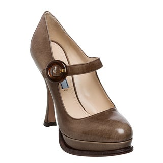Prada Women's 'Spazzolato' Grey/ Brown Mary Jane Platform Pumps
