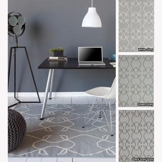 Mandara Handmade Abstract Pattern Flatweave Grey Rug (5' x 7')