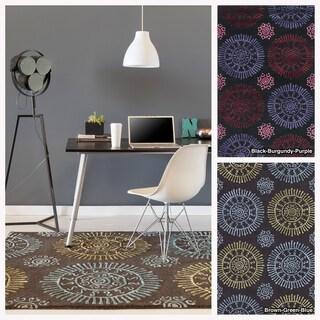 Mandara Hand-tufted Geometric Wool/ Viscose Rug (5' x 7'6)