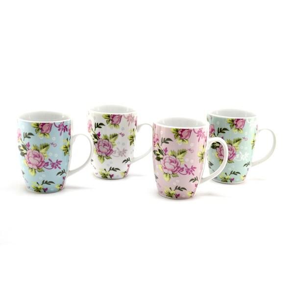 Floral 4-piece Ceramic 10-ounce Mugs
