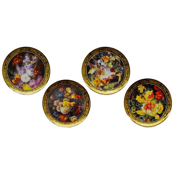Decorative Wall Plates Set Of 4 : Classical still life flowers decorative plates set of