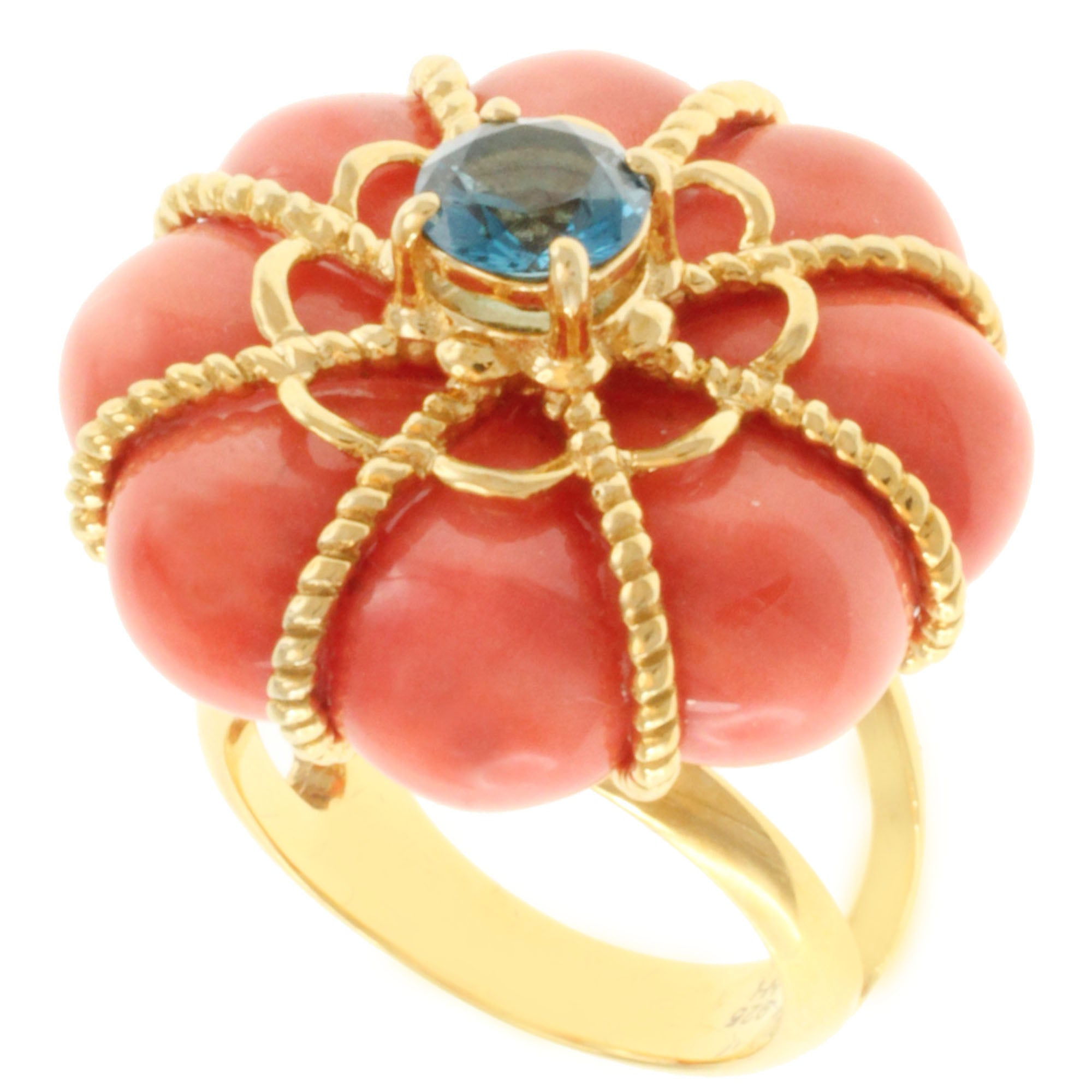 Michael Valitutti Gold over Silver Salmon Coral and London Blue Topaz Ring