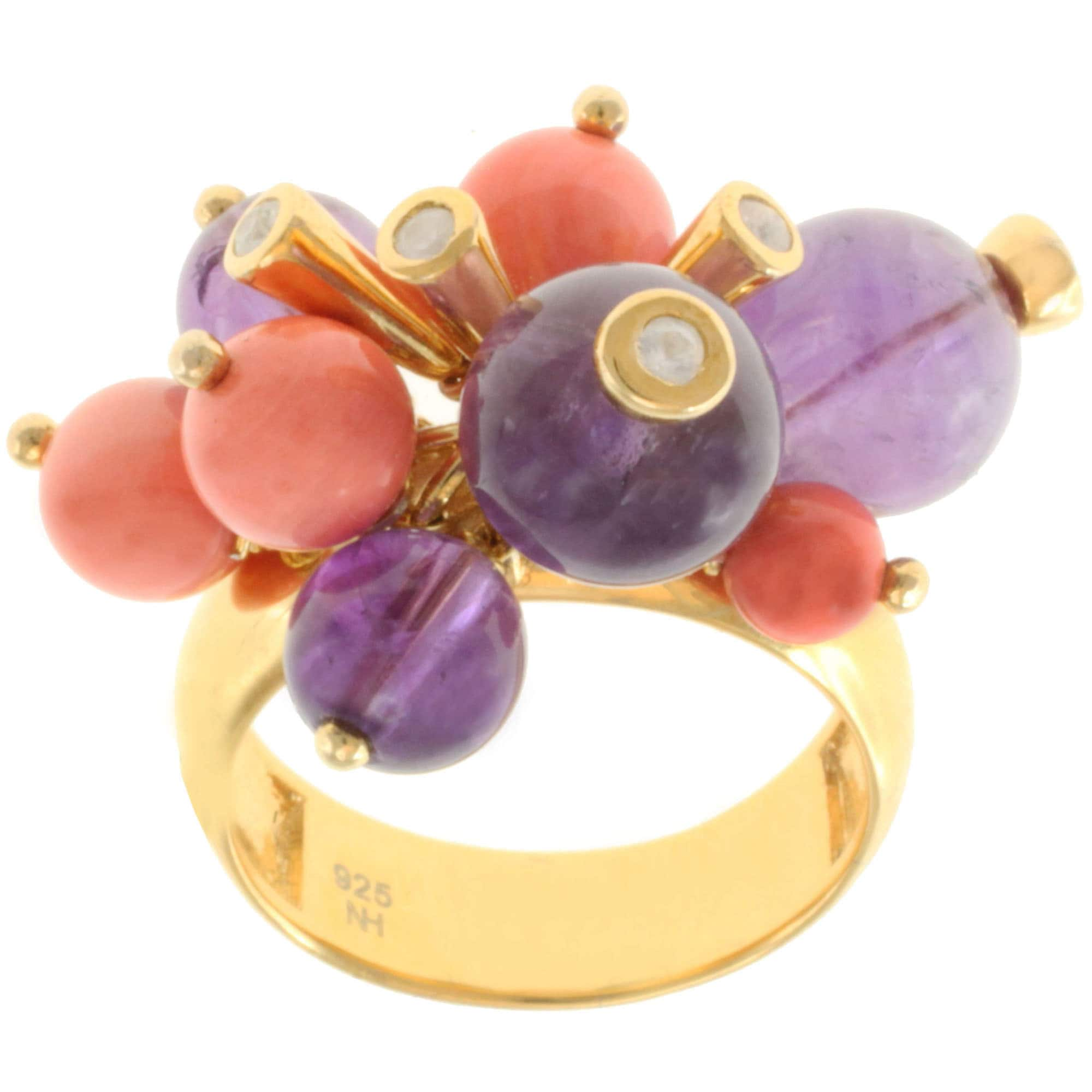 Michael Valitutti Gold over Silver Amethyst, Salmon Coral and White Sapphire Ring