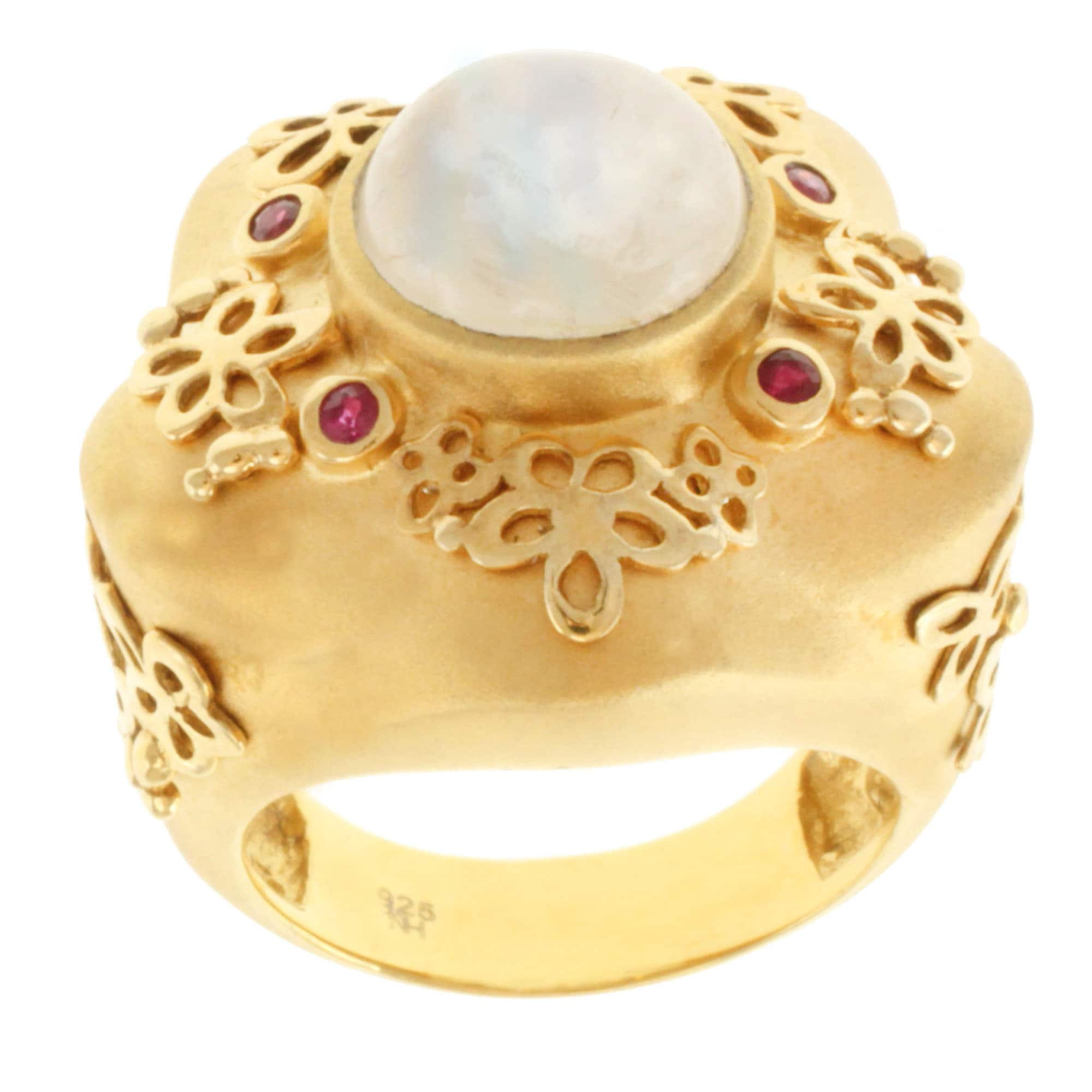 Michael Valitutti Gold over Silver Moonstone and Ruby Ring
