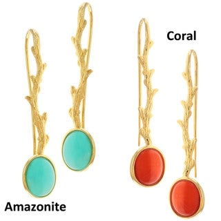 "Michael Valitutti Gold over Silver Amazonite or Coral ""Twig"" Earrings"