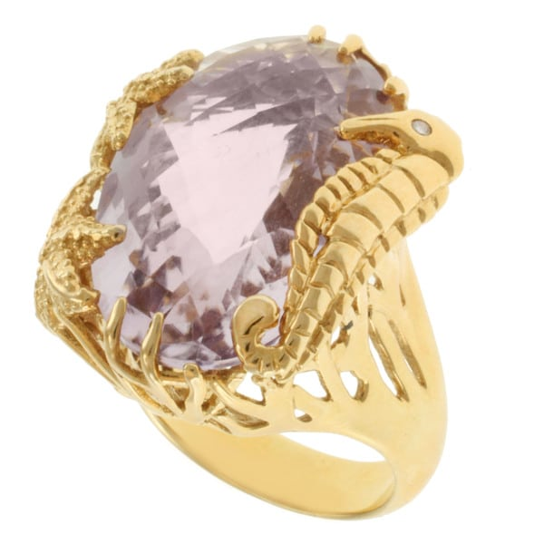Michael Valitutti Gold-over-silver Pink Oval Amethyst Ring