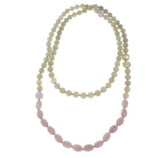 Michael Valitutti Gold over Sterling Silver Grey Moonstone, Kunzite, Lavender Quartz and Pearl Necklace (11-12 mm)