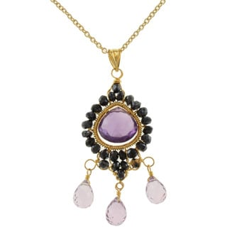 Michael Valitutti Gold over Sterling Silver Amethyst and Black Spinel Necklace