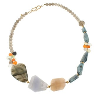 Michael Valitutti Gold Over Sterling Silver Multi-gemstone Bead Necklace