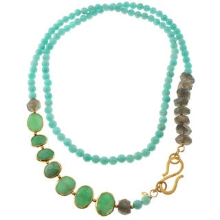 Michael Valitutti Gold over Sterling Silver Amazonite, Chrysoprase and Labradorite Necklace
