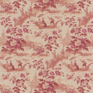 Red Chinoiserie Toile Wallpaper