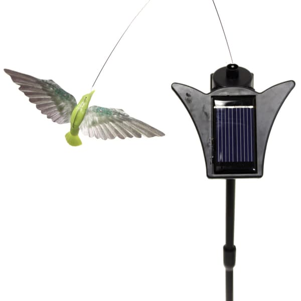 Solar Powered Dancing Chartreu Green Hummingbird Garden Accent
