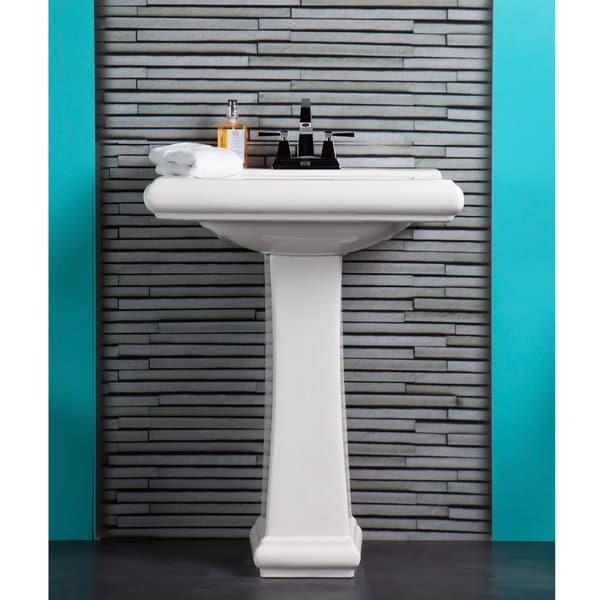 Fine Fixtures Ashfield Ceramic White Pedestal Bathroom Sink