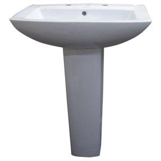 Modern Square White 8-inch Spread Ceramic Pedestal Sink