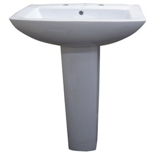 Modern Square White 8-inch Spread Ceramic Pedestal Sink