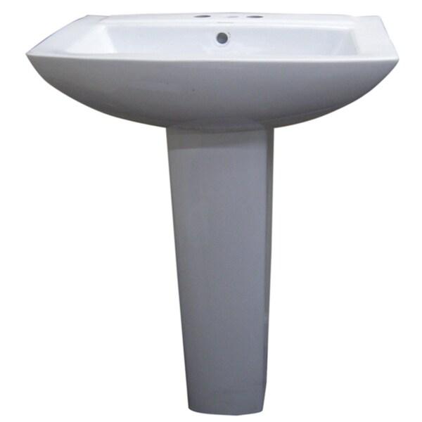 Somette Modern Square White 4-inch Spread Ceramic Pedestal Sink