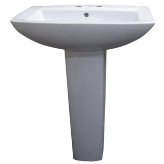 Modern Square White 4-inch Spread Ceramic Pedestal Sink