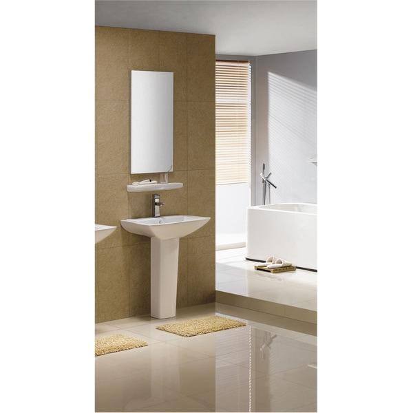 Somette Modern Square White Single Holle Ceramic Pedestal Sink
