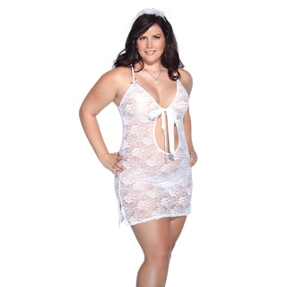 Kissable Women's White Lace Bridal Chemise and Headpiece