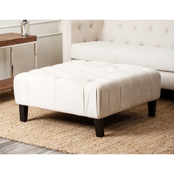 Abbyson Living Florence Cream Square Tufted Ottoman