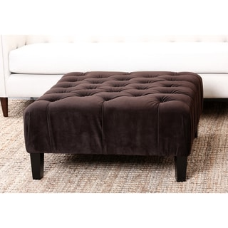 Abbyson Living Florence Dark Brown Square Tufted Ottoman