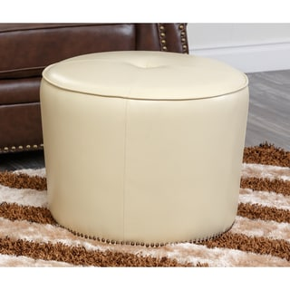 Abbyson Living Sienna Round Nailhead Trim Cream Leather Ottoman