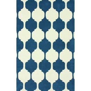 nuLOOM Handmade Modern Chess Trellis Blue Wool Rug (6' x 9')