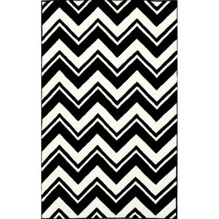 nuLOOM Handmade Modern Chevron Black/ White Wool Rug (6' x 9')