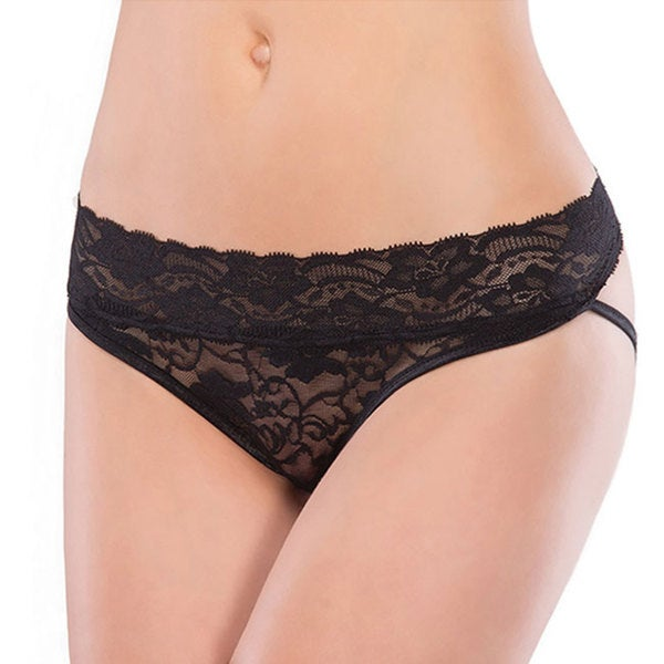 Coquette Women's Black Trim Strap Stretch Lace Panties (One size)