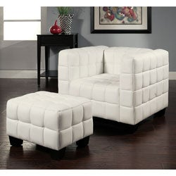 Abbyson Living Firenze White Top Grain Leather Chair and Ottoman Set