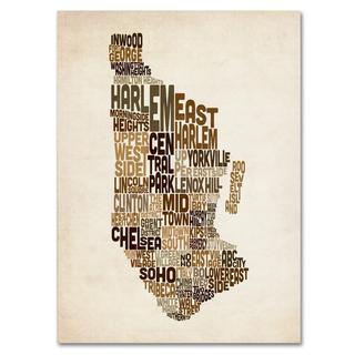Michael Tompsett 'Manhattan Text Map' Canvas Art